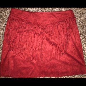 Maroon fringe skirt